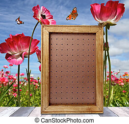 verticaal, frame, op, houtenvloer, op, lente, weide