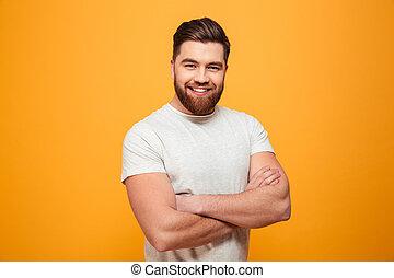 verticaal, gebaard, glimlachende mens
