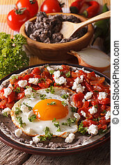 verticaal, gebraden, close-up., huevos, ingredienten, eitjes, rancheros, mexicaanse