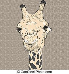verticaal, gekke , vector, closeup, kameel