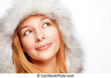 verticaal, gelukkige vrouw, peinzend, kerstmis