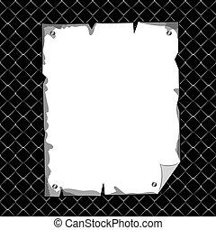 verticaal, gescheurd, blad, in, leeg, op, black , textuur, achtergrond