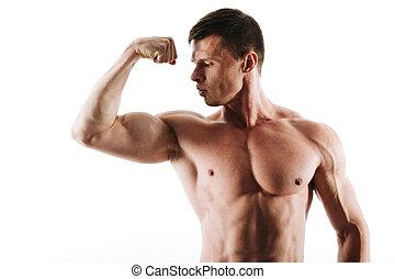 verticaal, gespierd, kapsel, het kijken, close-up, man, jonge, triceps, zijn, kort