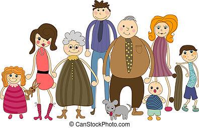 verticaal, gezin, groot