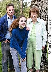 verticaal, gezin, oma
