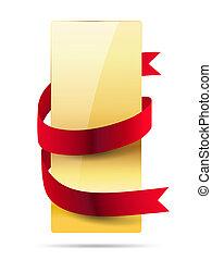verticaal, glanzend, gouden, kaart, met, rood lint