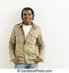 verticaal, glimlachende mens