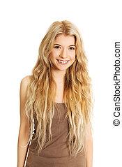 verticaal, glimlachende vrouw, jonge, kaukasisch