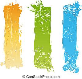 verticaal, grungy, banieren, met, floral onderdelen