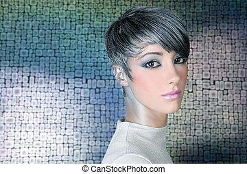 verticaal, hairstyle, makeup, zilver, futuristisch