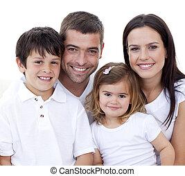 verticaal, het glimlachen, gezin, vrolijke