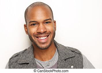 verticaal, het glimlachen, mooi, jonge man