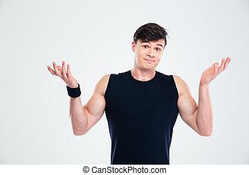 verticaal, het ophalen van schouders, man, fitness