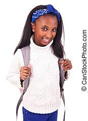 verticaal, jonge, student, afrikaan