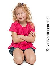verticaal, klein meisje, rood