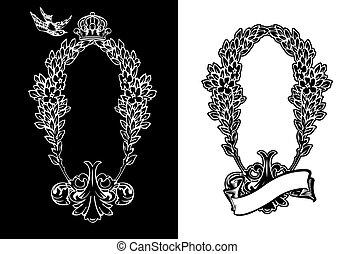 verticaal, kleur, heraldisch, koninklijk, wreath., een, sierlijk