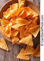 verticaal, koren, close-up., aanzicht, nachos, bovenzijde, frites, kom