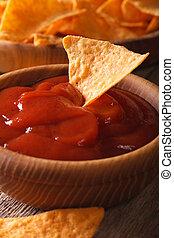 verticaal, koren, tomaat, nachos, frites, macro., saus