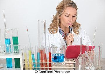 verticaal, laboratorium, assistent