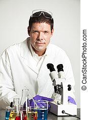 verticaal, laboratorium, wetenschapper