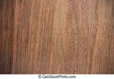 verticaal, -, lijnen, oppervlakte, okkernoot, hout