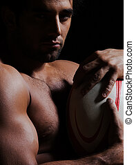 verticaal, man, topless, rugby, sexy