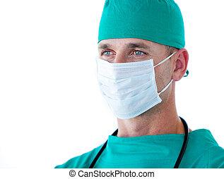 verticaal, mannelijke , chirurg, charismatic