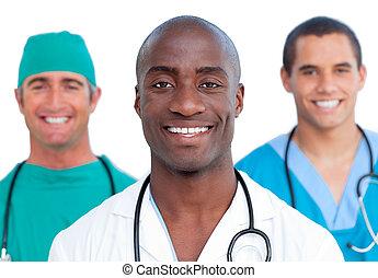 verticaal, mannelijke , drie, artsen