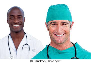 verticaal, mannelijke , twee, artsen