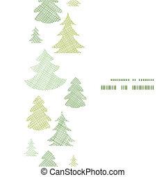 verticaal, model, frame, seamless, bomen, textiel, silhouettes, groene achtergrond, kerstmis