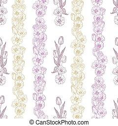 verticaal, model, lijnen, seamless, tulp, bloemen