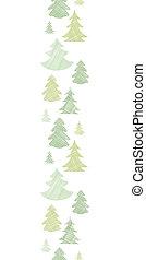 verticaal, model, seamless, bomen, textiel, silhouettes, groene achtergrond, grens, kerstmis