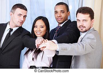 verticaal, multi, team., zakelijk, ethnische