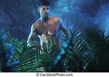 verticaal, naakt model, jonge, jungle