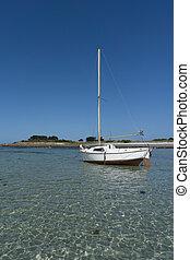 verticaal, oceaan, strand, zeilboot, landscape, hemel, kust, onder, blauwe , kleine