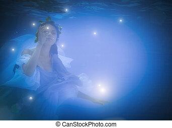 verticaal, onderwater, vrouw, op einde
