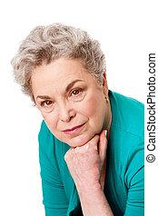 verticaal, oude vrouw, gezicht