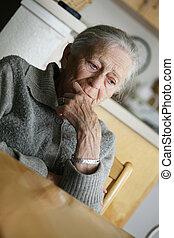 verticaal, oude vrouw, indoors.