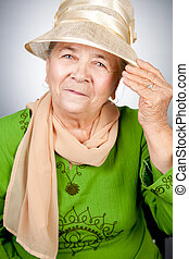 verticaal, oude vrouw, oud, vrolijke