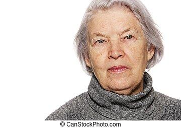 verticaal, oude vrouw
