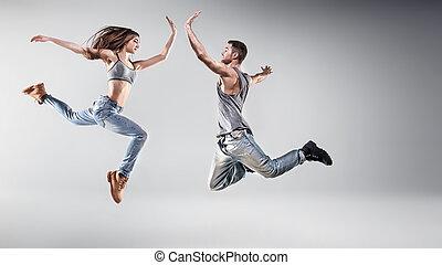 verticaal, paar, jonge, dancing
