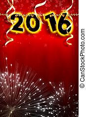 verticaal, parels, strook, jaar, achtergrond, hangend, nieuw, 2016, rood