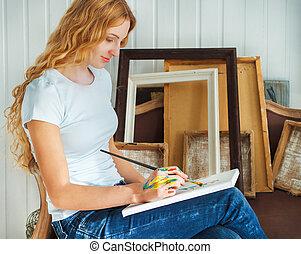 verticaal, penseel, vasthouden, vrouwlijk, kunstenaar