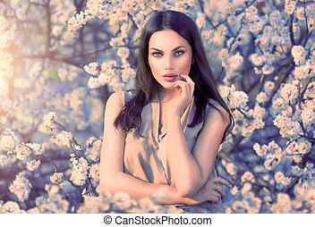 verticaal, romantische, beauty, vrouw, bomen, bloeien