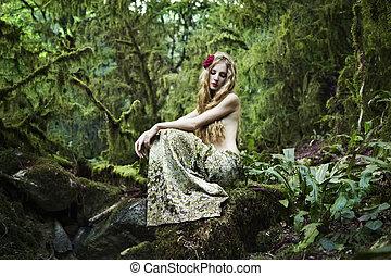 verticaal, romantische, elfje, bos, vrouw