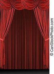 verticaal, rood, gedrapeerd, toneel