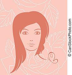 verticaal, roos, meisje, achtergrond, gezicht