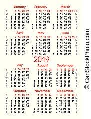 verticaal, rooster, getallen, kalender, 2019., belijning