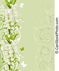 verticaal, roze, lente, achtergrond, met, tulpen, en,...