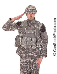 verticaal, saluting, militair, man, uniform